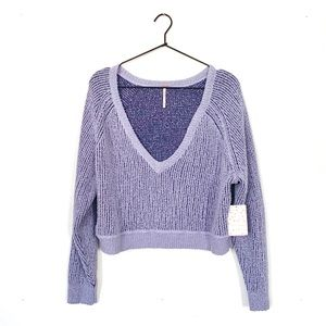 FREE PEOPLE High Low V Textured Slouchy Sweater
